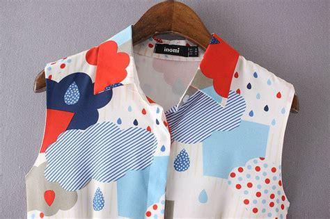 Atasan Motip Lucu dress putih motif lucu lengan buntung model terbaru jual murah import kerja
