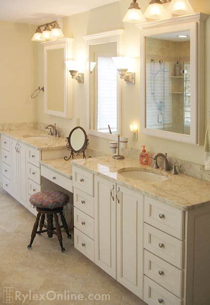 bathroom vanity with makeup counter granite bathroom