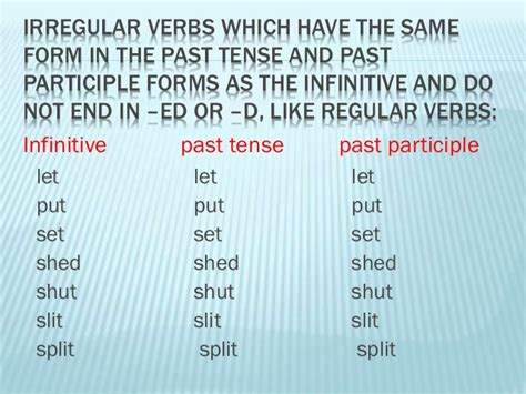 Past Tense Of Shed by Irregular Verbs