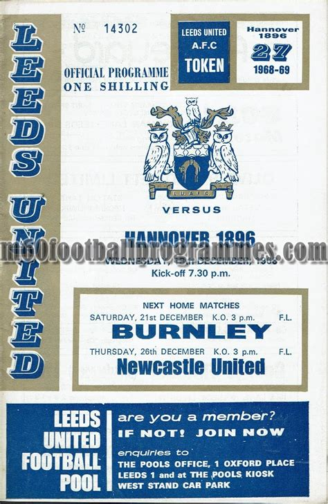 leeds united v hannover 1896 programme 18th december 1968