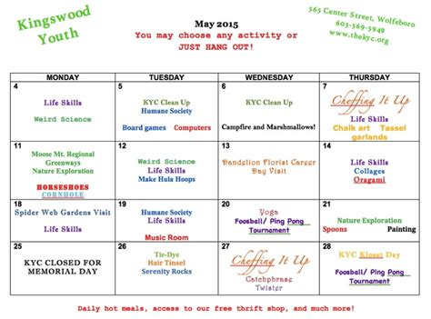 Calendar Programs The Kingswood Youth Center This Month S After School