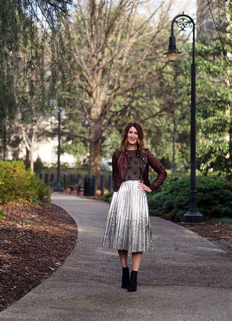 8 Ways To Wear Metallics by Three Ways To Wear Metallic Pleated Skirt Style Studs