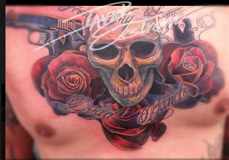 skull rose gun tattoo tattoos by david ekstrom november 2012
