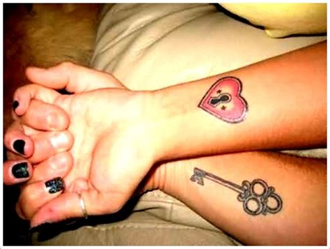 heart lock and key tattoo designs for couples on hand