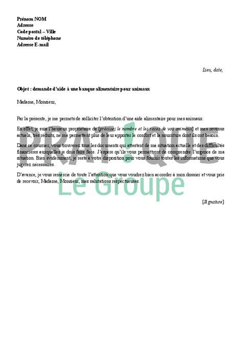 Modele Lettre De Motivation Banque Pdf Lettre De Demande D Aide 224 Une Banque Alimentaire Pour Animaux Pratique Fr