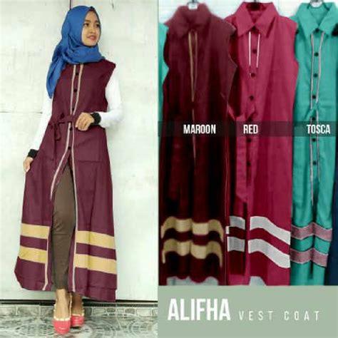 desain gamis tanpa lengan baju remaja alifha long vest bahan katun gamis modern murah