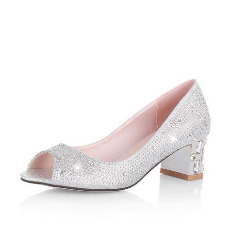 wedding shoes low heel sparkling low heel peep toe rhinestones silver wedding