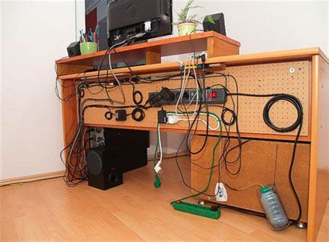 Cable Management With A Pegboard Attached To The Back Of A How To Organize Wires On Desk