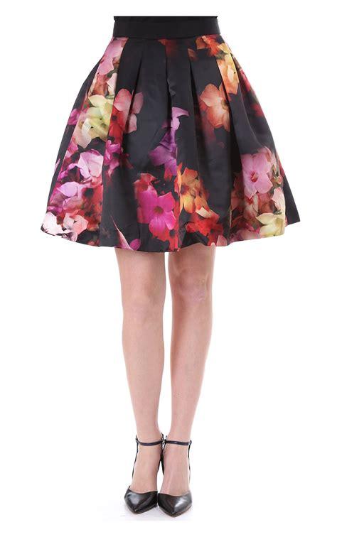 ted baker womens abaigh cascading floral black skirt