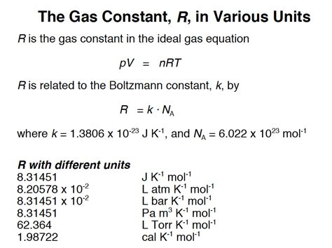 Universal Gas Constant by The Universal Gas Constant R In Various Units Semanticls