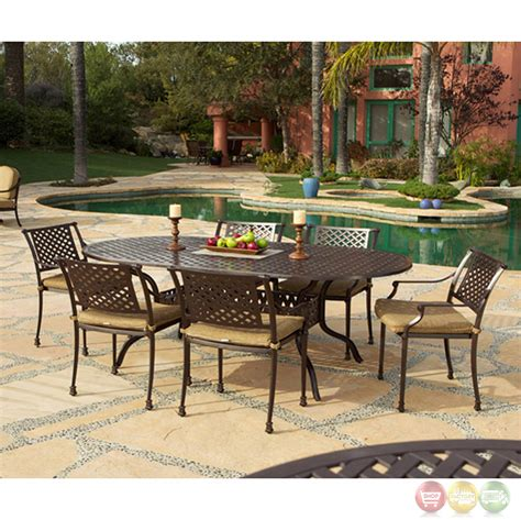 bridgeton patio furniture charleston 7pc cast aluminum outdoor oval dining set 10632247