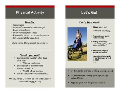 physical activity after c section healthy start handout
