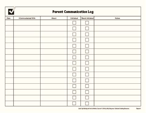parent contact log template parent communication grades k 5 collection lesson planet