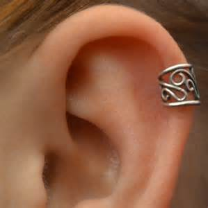 cuff piercing pierced filigree cartilage ear cuff sterling by chapmanjewelry