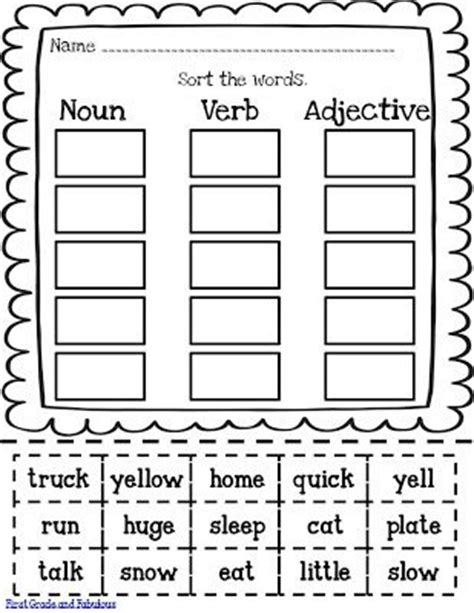 Nouns Verbs Adjectives Worksheet by Free Noun Verb Adjective Printable