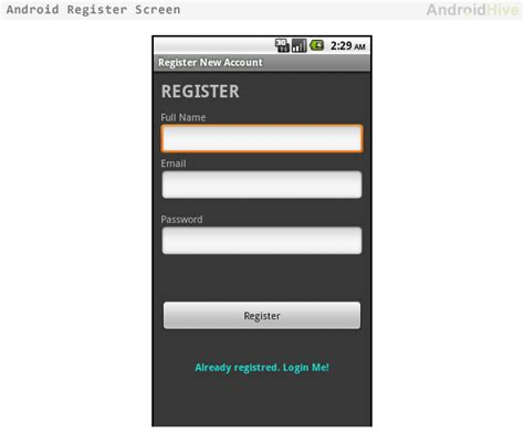 android layout uri is not registered magic due to logic android login and registration with