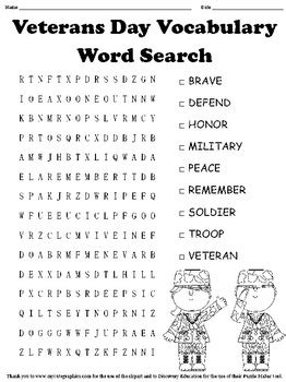 printable word search veterans day veterans day word search by myacestraw teachers pay teachers