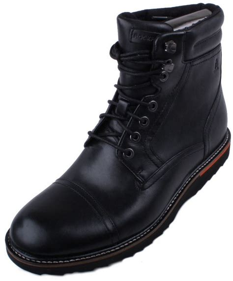 mens boots high rockport union cap high mens black leather boots ebay