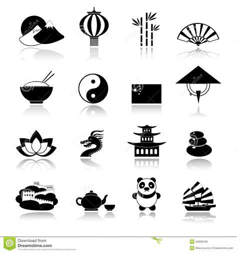 china icons set black stock vector image  internet