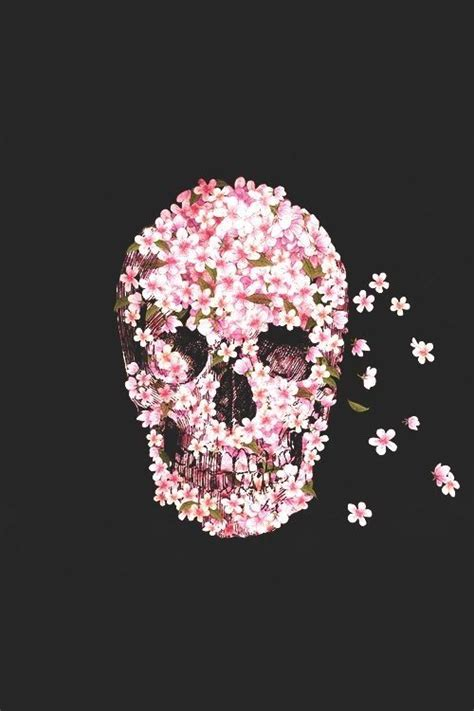 Wallpaper Skull Flower | pink floral skull wallpaper wallpaper pinterest