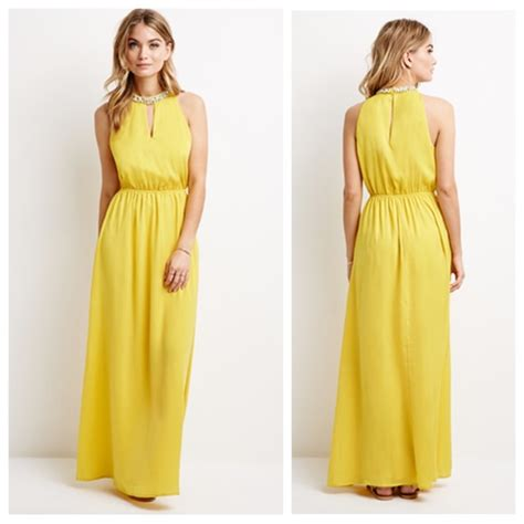 Yellow Dress By F21 forever 21 forever 21 yellow maxi dress rhinestone