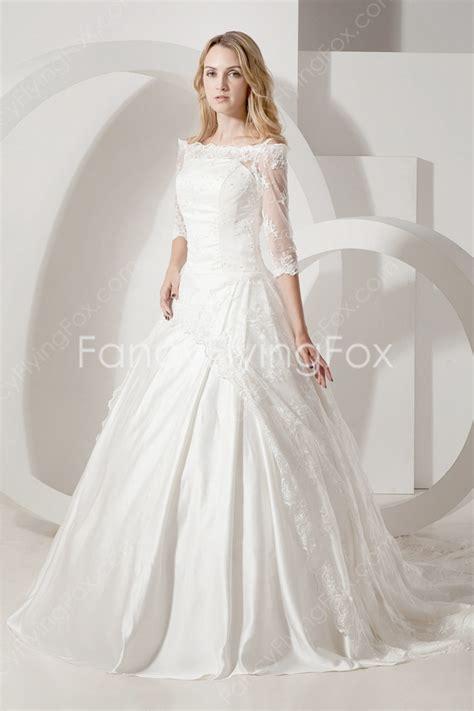 3/4 Sleeves Off The Shoulder Ball Gown Full Length Cinderella Wedding Dress at fancyflyingfox.com