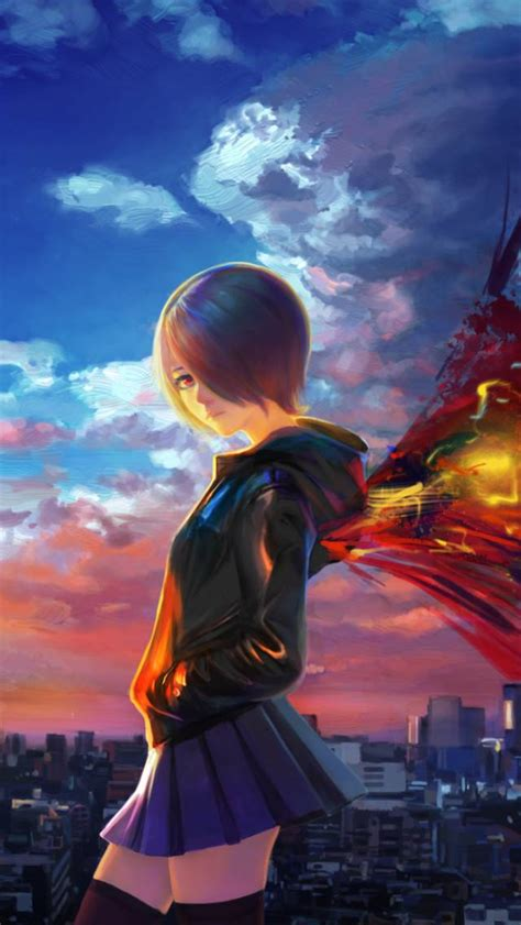 wallpaper android anime tokyo ghoul kirishima touka tokyo ghoul city sky wings anime