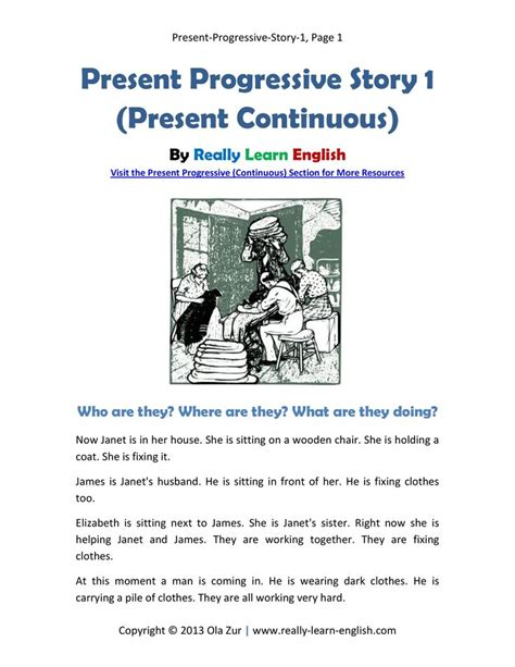 pattern present continuous tense free printable story and exercises to practice the present