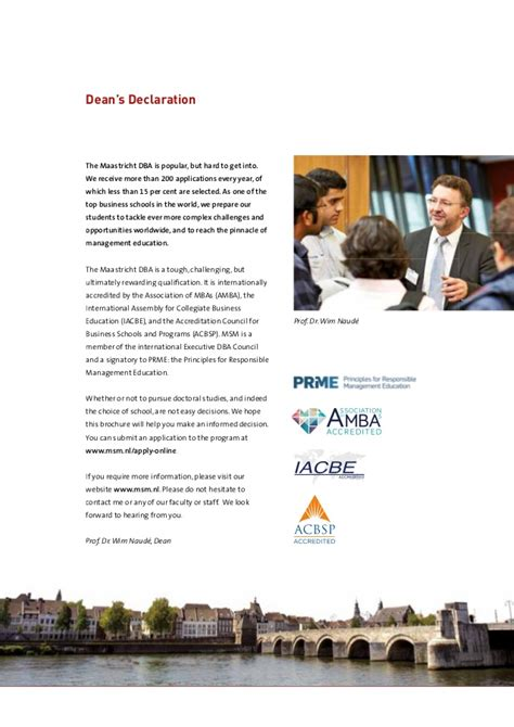 Maastricht Mba Ranking by Doctor Of Business Administration Brochure