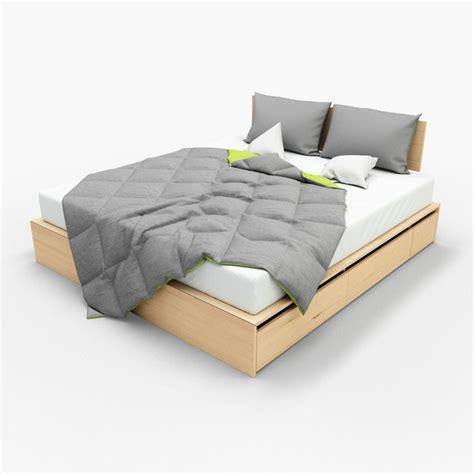 bett 3d photorealistic bed blanket pillows max