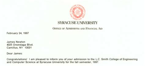 Syracuse Acceptance Letter 10 Reasons You You Go To Syracuse