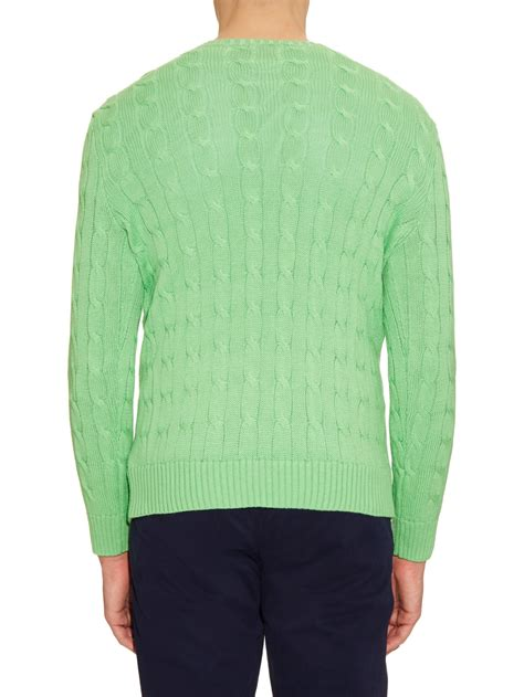 polo knit sweater polo ralph cable knit cotton sweater in green for
