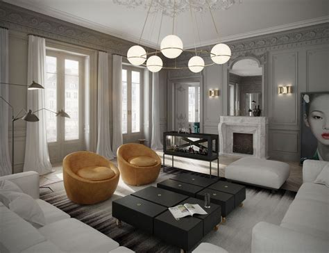 contemporary decorating style classic parisian apartment has a fish tank as a bar and a crate style kitchen