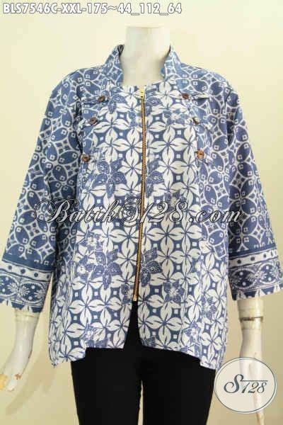 Gamis Batik Gamis Batik Gs48 Biru Bigsize Ukuran Besar Jumbo Ter baju batik wanita big size blus ayus warna biru motif unik proses cap model kerah shanghai