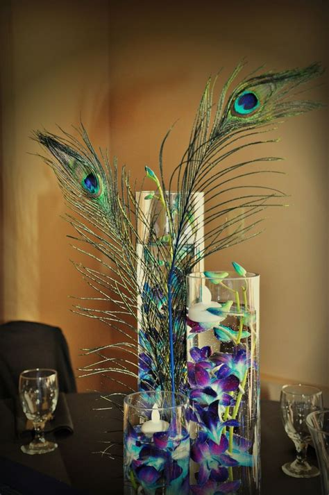 wedding centerpiece peacock a view in fontenelle hills