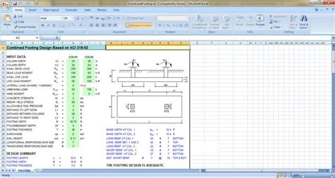 combined footing design free xls excel sheets civil engineering