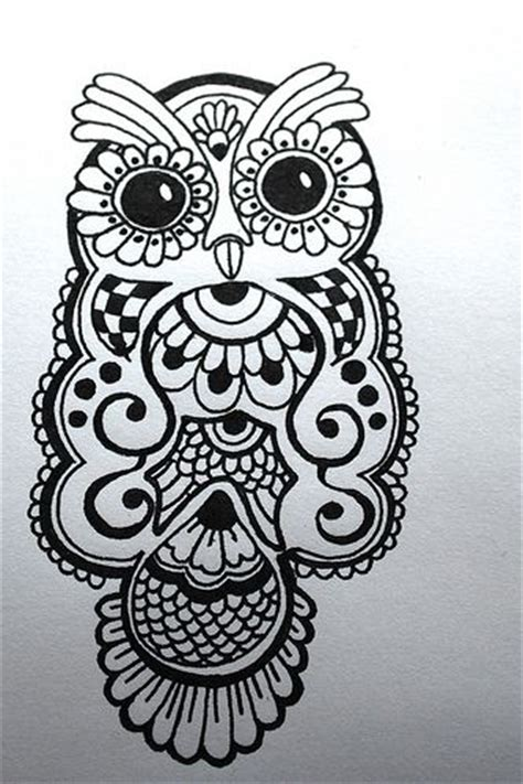 owl henna tattoo ink drawing of a henna type owl design paper product for