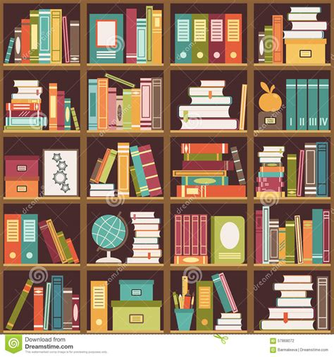 svg pattern library bookshelf with books seamless background stock vector