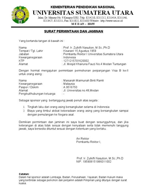 Business Viability Guarantee Letter Indonesia Contoh Surat Jaminan