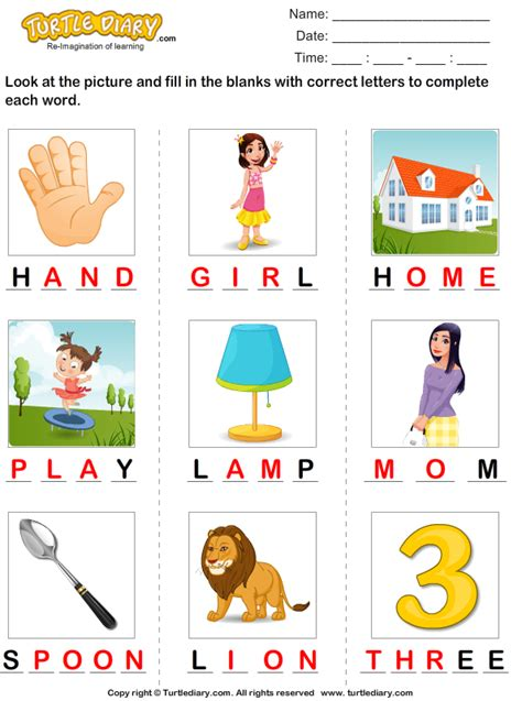 5 Letter Words Diary number names worksheets 187 missing letters free printable