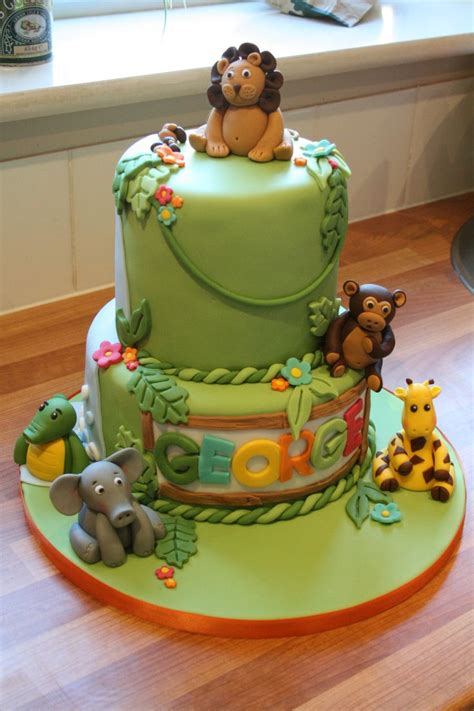 jungle themed st birthday cake camerons  birthday party pinterest birthday cakes