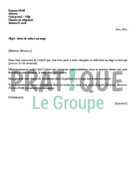 Redaction D Une Lettre De Recours Pour Refus De Visa Francais Lettre De Refus D Une Candidature 224 Un Stage Mod 232 Le 2 Pratique Fr