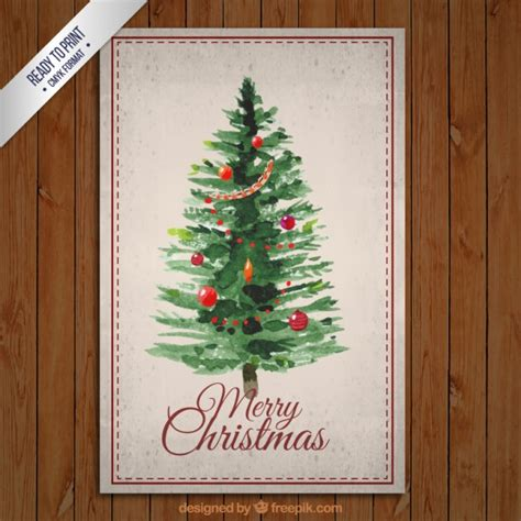 painted hand christmas trees painted tree card vector free