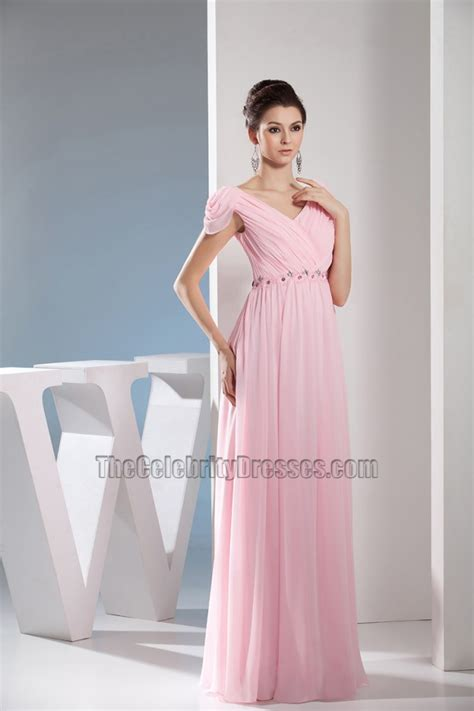 Pink Chiffon Floor Length Dress by Pink Chiffon Floor Length Prom Gown Evening Bridesmaid