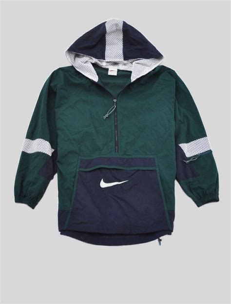 nike blue green lined hoodie windbreaker jacket