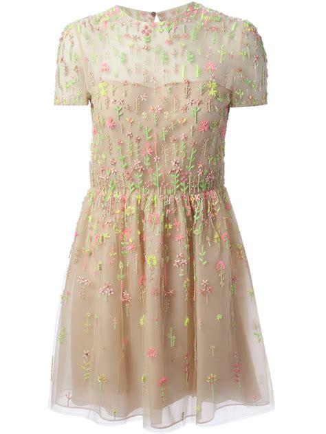 valentino bead embellished dress in beige neutrals