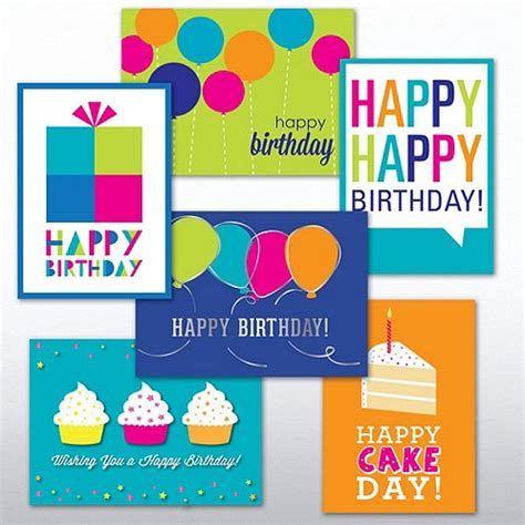 Assorted Birthday Cards For Employees Birthday Brights Greeting Card Assortment At Baudville Com