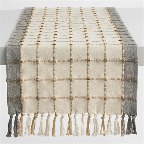 grey and white table runner ivory and gray windowpane table runner market