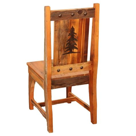 Rustic Kitchen Furniture Western Side Chair Country Rustic Wood Log Cabin Kitchen Furniture Decor Ebay