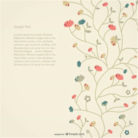 Vector Retro Style Floral Card Background 123freevectors